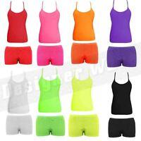 Girls Childrens Vest Hotpants Top Shorts PE Dance Wear Microfiber Gym