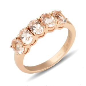 14k Rose gold Natural Oval Cut Peach Morganite Gemstone Band Ring Size US 4 to 8