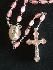 Communion Pink Pearly ROSARY BEADS With Pink Enamel Chalice Centrepiece Boxed