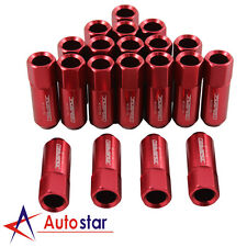 JDMSPEED 20pcs Alloy racing Wheel Tuner Lug Nuts Aluminum M12 x 1.5mm 60mm Red