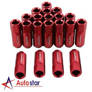 JDMSPEED 20pcs Alloy racing Wheel Tuner Lug Nuts Aluminum M12 x 1.5mm 60mm Red