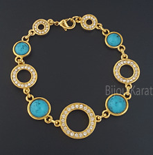 Gold Armband mit Türkis Blaue Steine 18 Karat Vergoldet Strass Bileklik Bilezik