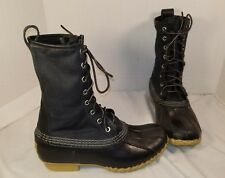 "NEW LL BEAN SIGNATURE 10"" WOMEN'S BLACK WAXED CANVAS MAINE HUNTING BOOTS SIZE 7"