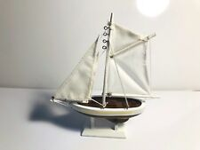 """Wooden Columbia model Sailboat decoration.  Ship Model Fully Assembled.  9"""" tall"""