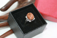 925 Sterling Silver 5.05 ct Genuine Oval Sandstone Women's Handmade Ring Sz 6.25