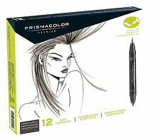 Prismacolor Premier ART MARKERS FRENCH GREY - Brush  & Fine Point - Box of 12