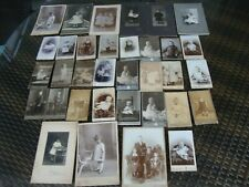 Sammlung alte Kabinettfotos Kinderporträts diverse Foto-Ateliers 34 Stück aus Na