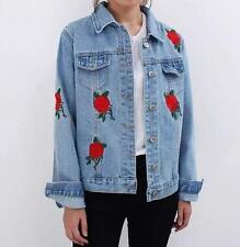 spring women rose embroidered denim BF Coat boy friend short jacket outwear