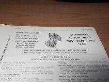 1949 Studebaker 1/2 Ton 2R5 2R10 2R15 Carter Carburetor Spec Info Sheet Original