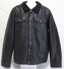 *NEW* Levi's Men's Faux Leather Sherpa Lined Trucker Jacket