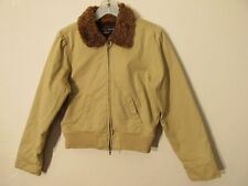 S6715 Abercrombie & Fitch Juniors Medium Tan Full Zip Faux Fur Lined Jacket