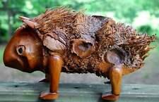 Vintage OUTSIDER FOLK ART Wood Root Sculpture PORCUPINE Hand Carved Signed BEAN