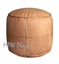 Pouf, Ottoman, Tabouret, by MPW Plaza, Sand, Un-Stuffed Moroccan Leather Pouf