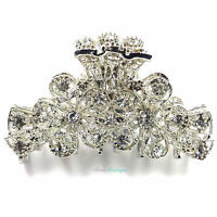 Wedding Prom Silver Clear Crystal Vintage Flowers Hair Claw Clip Grip Clamp CL03