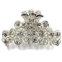 Wedding Prom Crystal Diamante Flower Silver Metal Hair Claw Clip Grip Clamp