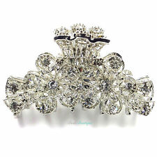 Wedding Prom Crystal Diamante Flower Silver Metal Hair Claw Clip Grip Clamp