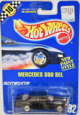 HOT WHEELS 1990 BLUE CARD MERCEDES 380 SEL #92 OPEN STEERING WHEELS W+