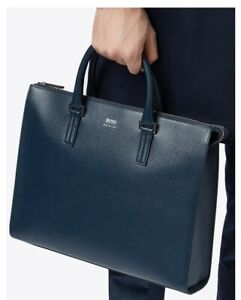 Authentic HUGO BOSS Men's Business Casual Leather Slim Briefcase Bag  RRP £610