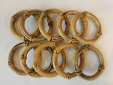 """Lot of 10 Vintage Tan Plastic Bamboo Faux Wood 3"""" Round Macrame Craft Rings"""