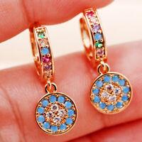 Bohemia blue round flower 18K Gold Filled Earrings Gems Zircon Dangle Hoop Party