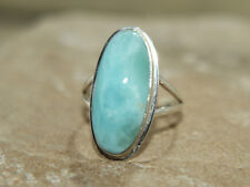 Lovely Oval Larimar ring 925 Sterling Silver Ring app N