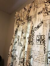 Vintage Hawaiian Barkcloth Tiki Mid Century Curtains Drapes 4 Panels