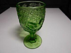 "LG Wright Wild Rose Water Goblet Green 6 5/8"" T TM"