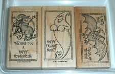 Stampin' Up TRICKY TREATS Rubber Stamp Set ~ Halloween Witch Ghost Bat & Phrases