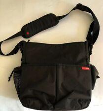 SKIP HOP DUO mens Signature Diaper Messerger Bag Black Crossbody Travel  Pocket