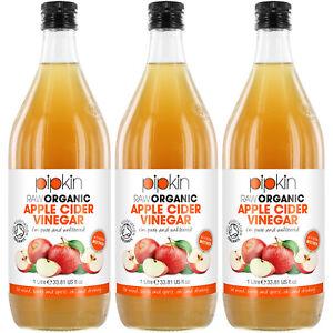 Pipkin Raw Organic Unfiltered Apple Cider Vinegar Mother Gluten-Free 3 x 946ml