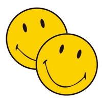 2x Smiley Smily Gelb lachender Emoji Emoticon Emotie Lachen Aufkleber Sticker