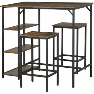 Industrial Style Dining Furniture Set Bar Table High Chair Shelves Compact Brown