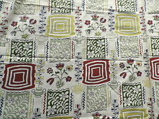 Vintage 1950's Cotton Interiors Fabric Iconic Plant Pots Kitchen Design
