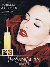 PUBLICITE ADVERTISING 074 1995 YVES SAINT LAURENT rouge pur rouge à lèvres