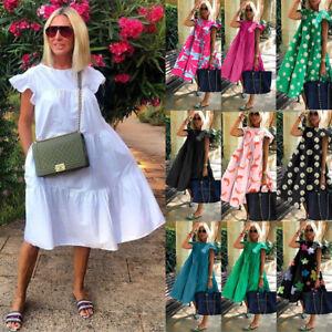 Plus Size Holiday Womens Smock Dress Sundress Ruffles Frill Casual Loose Dresses