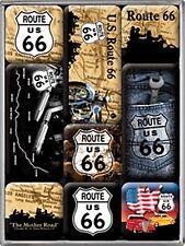 Route 66 set of 9 mini fridge magnets (map bgrd)   (na)