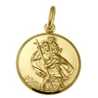 LARGE 9CT GOLD ST SAINT CHRISTOPHER PENDANT CHAIN NECKLACE WITH GIFT BOX - 5.4g
