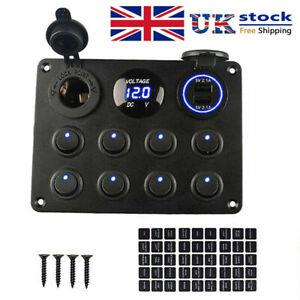 8 Gang Campervan RV 12V LED Light Switch Control Panel Voltmeter USB Charger UK