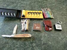 Small Lufkin Measuring Tape, Mobile Oil?, Pocket Knife, Multi Tool Sets