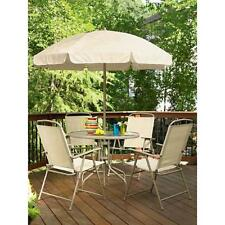 6 pc Patio Set Folding Chairs Tempered Glass Round Table Umbrella Tan NIB