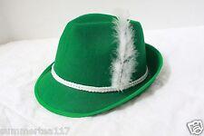 Green German Alpine OKTOBEREST Hat Feather Cap St. Patrick's Day Costume G1697