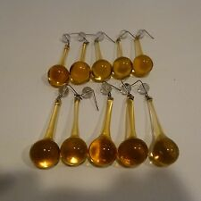 10 vtg  Amber  Murano Crystal Chandelier Glass Teardrop Prisms,N/O/S Circa 1950