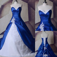 Vintage Royal Blue and White Wedding Dresses Gothic Lace Appliques Bridal Gowns
