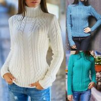 Womens Long Sleeve High Collar Pullover Sweater Knitted Jumper Tops Blouse