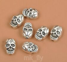 10pcs Tibetan Silver Charms Double sided skull beads spacer bead  10x7mm FA3455