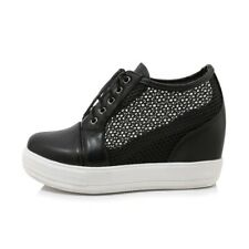 Fashion Women Loafers Lace up Casual Shoe Black White Mesh Shoes Woman Size 3-13