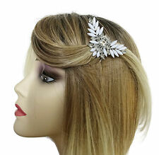 BEAUTIFUL Small Diamante and White Rhinestone Hair Comb Slide UK SELLER