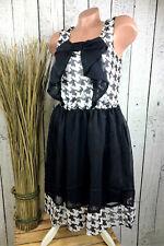 Kleid ärmellos mit Schleife und Pepita Muster in schwarz weiß Damen Gr. 36