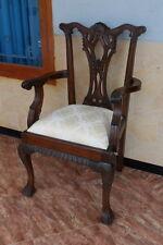 Stühle Stuhl Mahagoni Chippendale mit Armlehne massiv Mahagoni