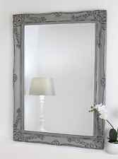 Isabella Vintage Grey Shabby Chic Rectangle Wall Mirror 91 x 66cm (36in x 26in)